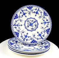 "RIDGWAY LAWLEY ENGLAND BLUE DANISH BLUE & WHITE 4PC 9 7/8"" DINNER PLATES 1955-62"