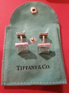 TIFFANY & CO Quality Solid 925 Sterling Silver Men's Curved Square Cufflinks