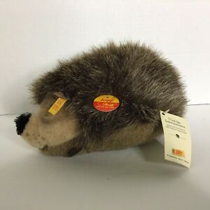 Steif Joggi Igel Hedgehog Plush with Button, Flag, and Tag Made in Germany