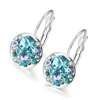 AQUAMARINE BLUE LEVERBACK EARRINGS MADE WITH SWAROVSKI CRYSTALS