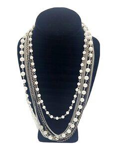 Multi Strand Layered Silver Chain Pearl And Rhinestones Necklace