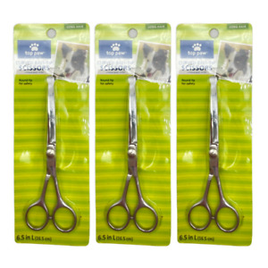 """TOP PAW Curved Ball-tip SCISSORS 6.5"""" FOR DOGS, LONG HAIR Pack of 3"""