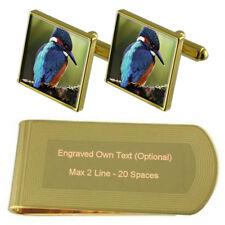 Kingfisher Gold-Tone Cufflinks Money Clip Engraved Gift Set
