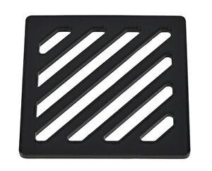 "115mm 11.5cm ~4.5"" Square Matt Black drain cover gully grid grate powder coat"