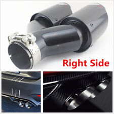 Plating Black Real Carbon Fiber 63-89mm Glossy Car Dual Exhaust Pipe Right Side