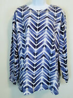 Links Knit Blouse Blue Chevron Long Sleeve Studded Scoop Neck Stretch Top 3X