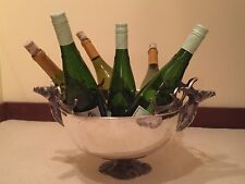 LARGE PUNCH CENTERPIECE BOWL HAMMERED SILVERPLATE DEER STAG WINE COOLER CHILLER