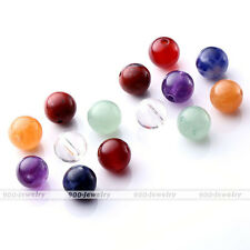 7pcs/set Chakra Natural Gemstone Reiki Healing Point Quartz Ball Beads With Hole