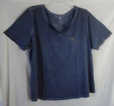 TERRY SKY BLUE SAPPHIRE BLOUSE TOP SHORT SLEEVE COTTON POLYESTER 1X 16W 18W