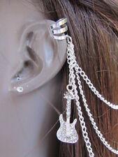 WOMEN SILVER GUITAR METAL MULTI CHAINS FASHION HAIR PIN CONNECTED CUFF EARRING