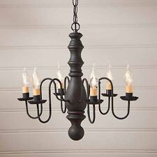 Manassas Six-arm Wooden Country Chandelier Light Fixture in Black over Red