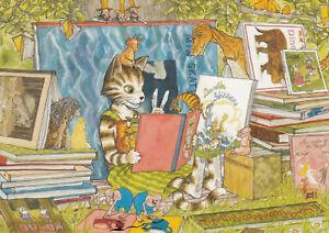 Postkarte: Nordqvist  -   Findus liest - Findus und die Bücher