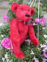 VINTAGE MOHAIR TEDDY BEAR RARE RUBY RED ARTIST TAG BETH ANN BEARS WOODLAND PLACE
