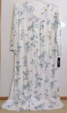 NWT ARIA LONG NIGHTGOWN-SIZE XL-3/4 SLEEVE-IVORY/BLUE-$68-BEAUTIFUL/SUPER SOFT