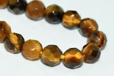 """4MM Natural Tiger Eye Gemstone Beads Grade A Faceted Round Loose Beads 7.5"""""""