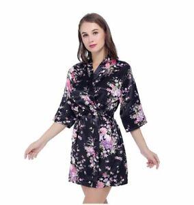 Peignoir Femme ou Kimono Noir Imprimé Floral Taille M