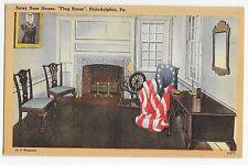 Philadelphia PA Betsy Ross House Flag Room Linen Vintage Postcard
