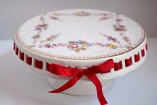 NEW GRACE'S TEAWARE FLORAL ROSES BURGUNDY RED RIBBON CAKE FOOTED PEDESTAL STAND