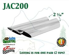 "JAC200 PAIR 2""-2 1/16"" Chrome Angle Cut Exhaust Tips 2 1/4"" Outlet / 9"" Long"
