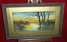 Old Framed Pastel Drawing - Man Fishing  On Creek In Boat - Unsigned