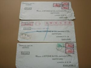 1952 INDIA Stamps SELECTION OF 3 COMMERCIAL AIR MAIL COVERS WAX SEALS TO LONDON