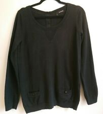Ladies The Kooples Black Knit Sweater Size Small S UK 8 10 Silk Cashmere Jumper