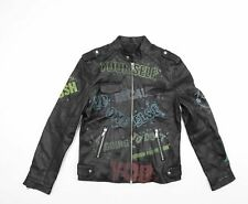 More details for 100% leather biker jacket with slogans punk the clash manic street preachers m