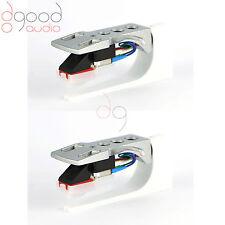 2X Silver headshell & MM cartridge, stylus, turntable, stanton kam Technics DJ