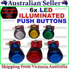 New: 6x LED - ILLUMINATED Push BUTTONS, Lock nut & Micro Switch ~ Arcade / Mame