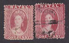 South Africa NATAL 1863 QV 1d wmk crown CC pf12½ SG21 & 22 see description