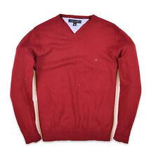 Tommy Hilfiger Herren V-Neck Pullover Sweater Gr.M (wie L) Strick Rot 89896