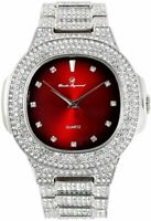 Men Iced Oblong Watch Bling Rapper Lab Simulate Diamond Silver Band Luxury Red