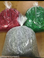 Glitterexpress 040hex Chunky 1KG Bags Red, Silver & Green PVC Crafts