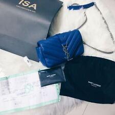 100% Authentic YSL Saint Laurent Blue Monogram College Cross Body Shoulder Bag