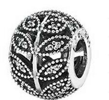 CRYSTAL LEAVES .925 Sterling Silver European Charm Bead L3