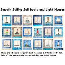 Smooth Sailing Nautical Light House Panel cotton Quilt fabric Quilting Treasures