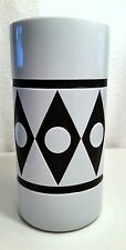 Mid Century Murano Cased Glass Vase Black White Cut Carved Moretti,Venini Italy