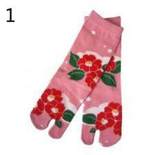 1 Pair Japan Tabi Split Toe Socks Lady Flower Sandals Geta Ninja Slipper Cosplay