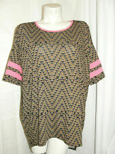 New LLR LuLaroe Top Women's Size M Green Pink IRMA Tunic Baseball Stripes NWT