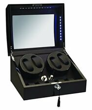 Diplomat 4+5 Watch Winder w/ Storage Ebony Black Wood and Leather w/ LED 34-511