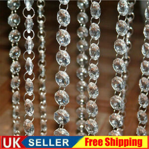 40 Chandelier Light Crystals Droplets Acrylic Bead Wedding Drops 14mm Two-Hole.