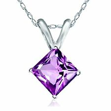 "Princess Cut Genuine Amethyst Pendant Necklace 14k Solid White Gold 18"" Chain"