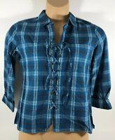 Ariat Sandy Shirt Western Rodeo Long Sleeve Shirt Blue Plaid Women's Medium M