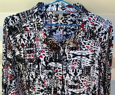 SUZANNE GRAE SIZE 16 BLACK WHITE & RED LONG SLEEVE BUTTON UP SHIRT BLOUSE EX CON