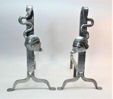 Fine FRENCH ART NOUVEAU/DECO Gilt Silver Wrought Iron Andirons  1920s  c. 1920