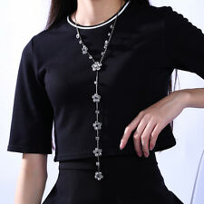 """Silver Plated Crystal Flower Long Sweater Chain Pendant Necklace 20"""""""