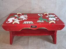 Vintage Brio Toy Stool Bench Wheels Rolling Toy Painted Red Geen Circus