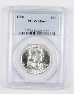 1958 MS64 Franklin Half Dollar - 90% SILVER - PCGS Graded *910