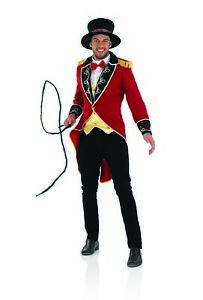 Mens Red Circus Ringmaster Jacket Costume M L XL Adult Lion Tamer Fancy Dress