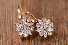 Rose Gold Flower Marquise Cubic Zirconia Drop Dangle Earrings- Bridal Gift